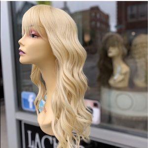 Blonde 613 Beach Waves Bangs Wig